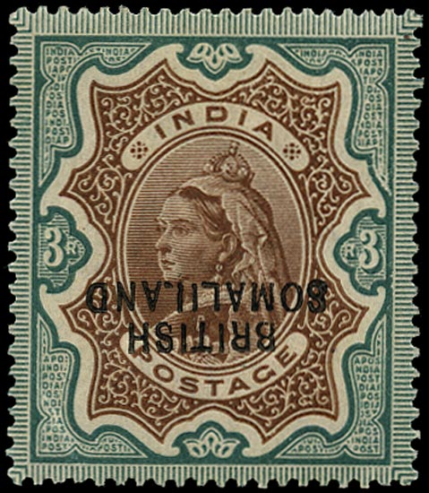 SOMALILAND PROTECT 1903  SG23a Mint QV 3r brown and green variety Overprint Inverted
