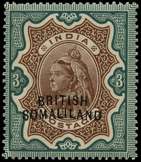 SOMALILAND PROTECT 1903  SG23b Mint QV 3r brown and green variety Curved Overprint