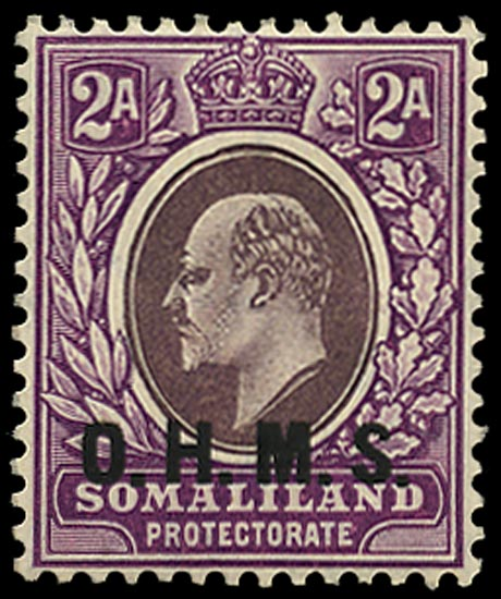 SOMALILAND PROTECT 1904  SGO14 Official KEVII 2a dull and bright purple watermark MCA unmounted mint