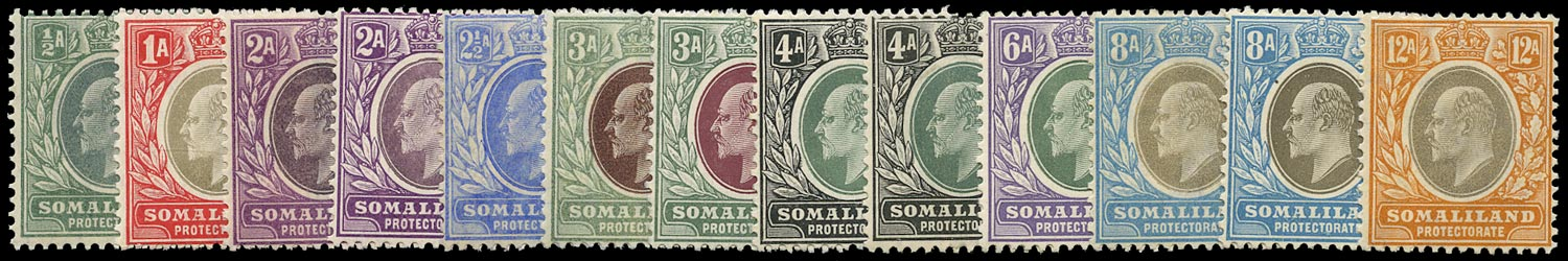 SOMALILAND PROTECT 1905  SG45/53 Mint unmounted KEVII set to 12a including chalk-surfaced paper printings