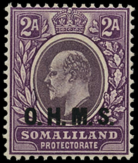 SOMALILAND PROTECT 1904  SGO12 Official 2a dull and bright purple watermark Crown CA