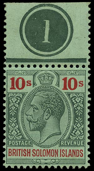 SOLOMON ISLANDS 1914  SG37 Mint KGV 10s green and red on green paper watermark MCA