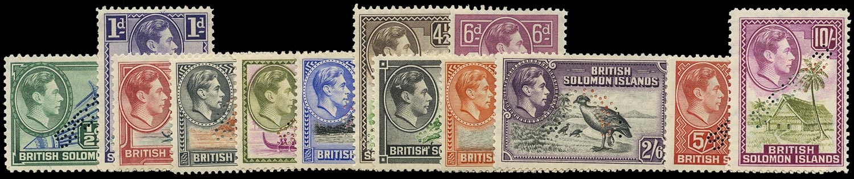 SOLOMON ISLANDS 1939  SG60s/72s Specimen KGVI set of 13 to 10s unmounted mint ex King Farouk collection