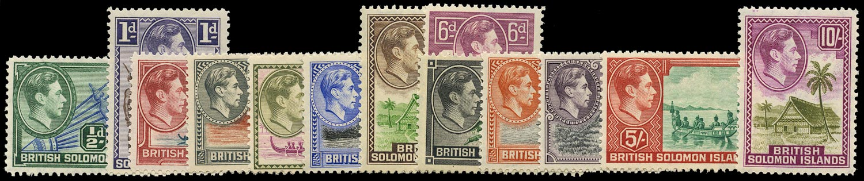 SOLOMON ISLANDS 1939  SG60/72 Mint unmounted KGVI set of 13 to 10s