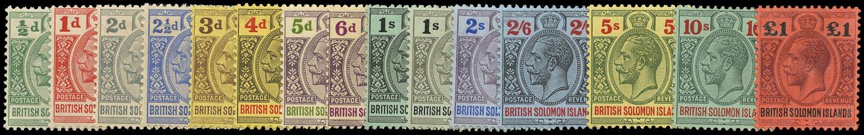 SOLOMON ISLANDS 1914  SG22/38 Mint KGV set of 15 to £1 watermark MCA