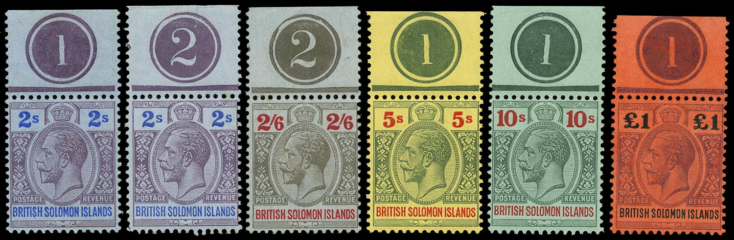 SOLOMON ISLANDS 1914  SG34/38 Mint KGV 2s to £1 watermark MCA plate numbers