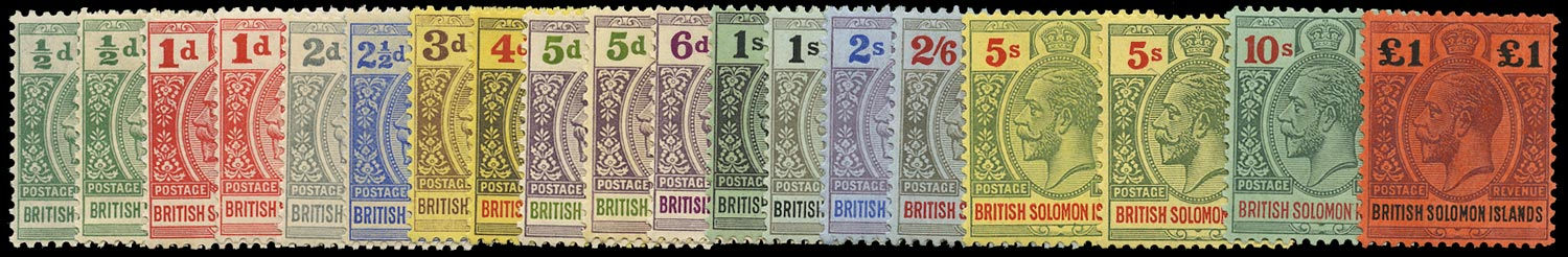 SOLOMON ISLANDS 1914  SG22/38 Mint unmounted KGV complete set of 19 to £1