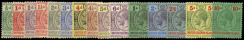 SOLOMON ISLANDS 1922  SG39/52 Mint unmounted KGV Script watermark set of 15 to 10s