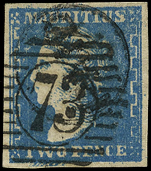 MAURITIUS 1859  SG44b Used 2d pale blue 'Dardenne' variety Retouched below 'TWO' (pos. 58)