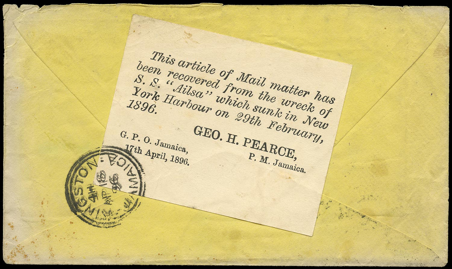 JAMAICA 1896 Cover from New York to Kingston recovered from the wreck of the 'Ailsa'
