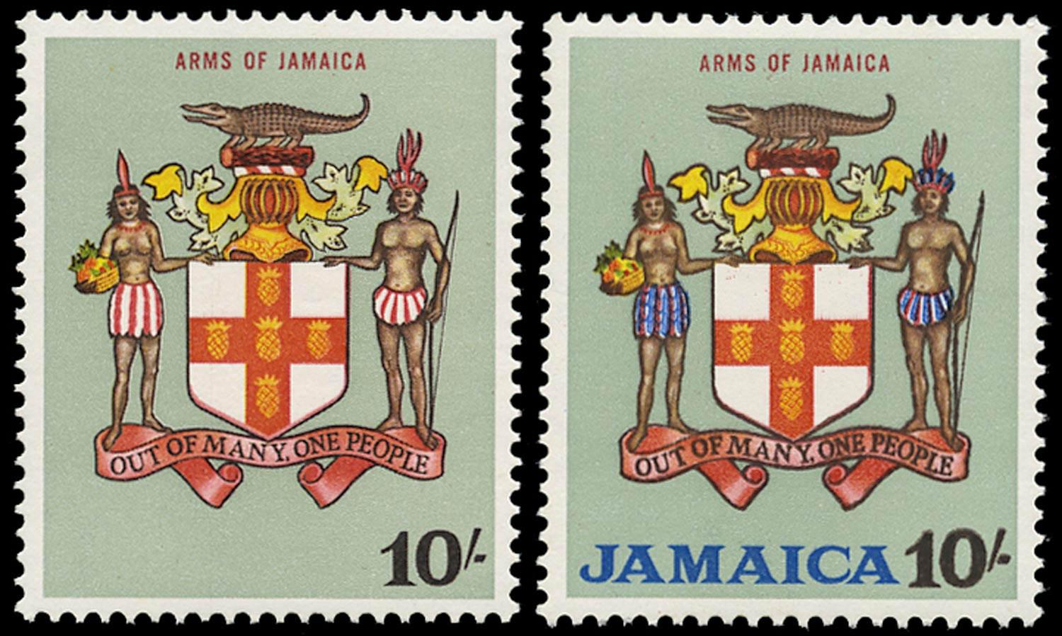 JAMAICA 1964  SG231a Mint unmounted QEII 10s Arms error blue omitted