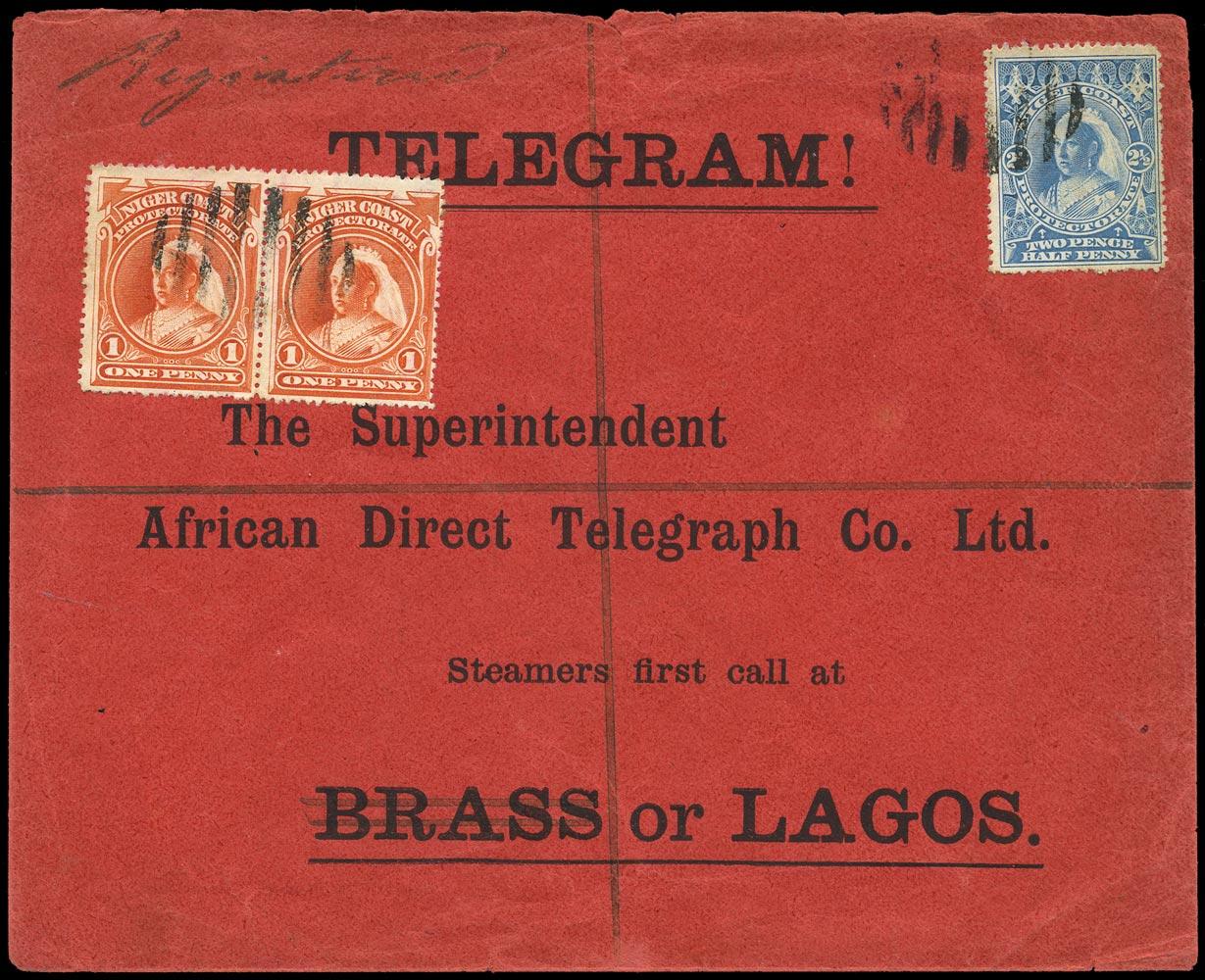 NIGER COAST 1898  SG67, 69 Cover Telegram envelope
