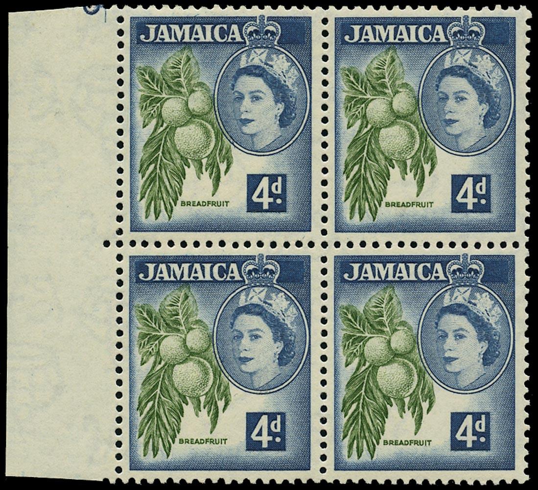 JAMAICA 1956  SG164w Mint unmounted QEII 4d Breadfruit variety watermark inverted