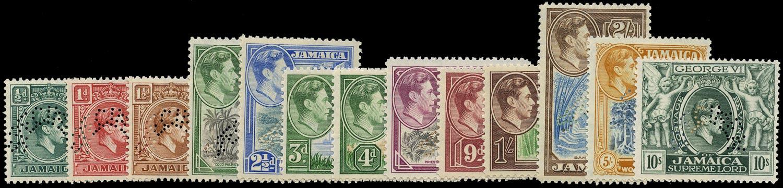 JAMAICA 1938  SG121s/33s Specimen KGVI set of 13 to 10s