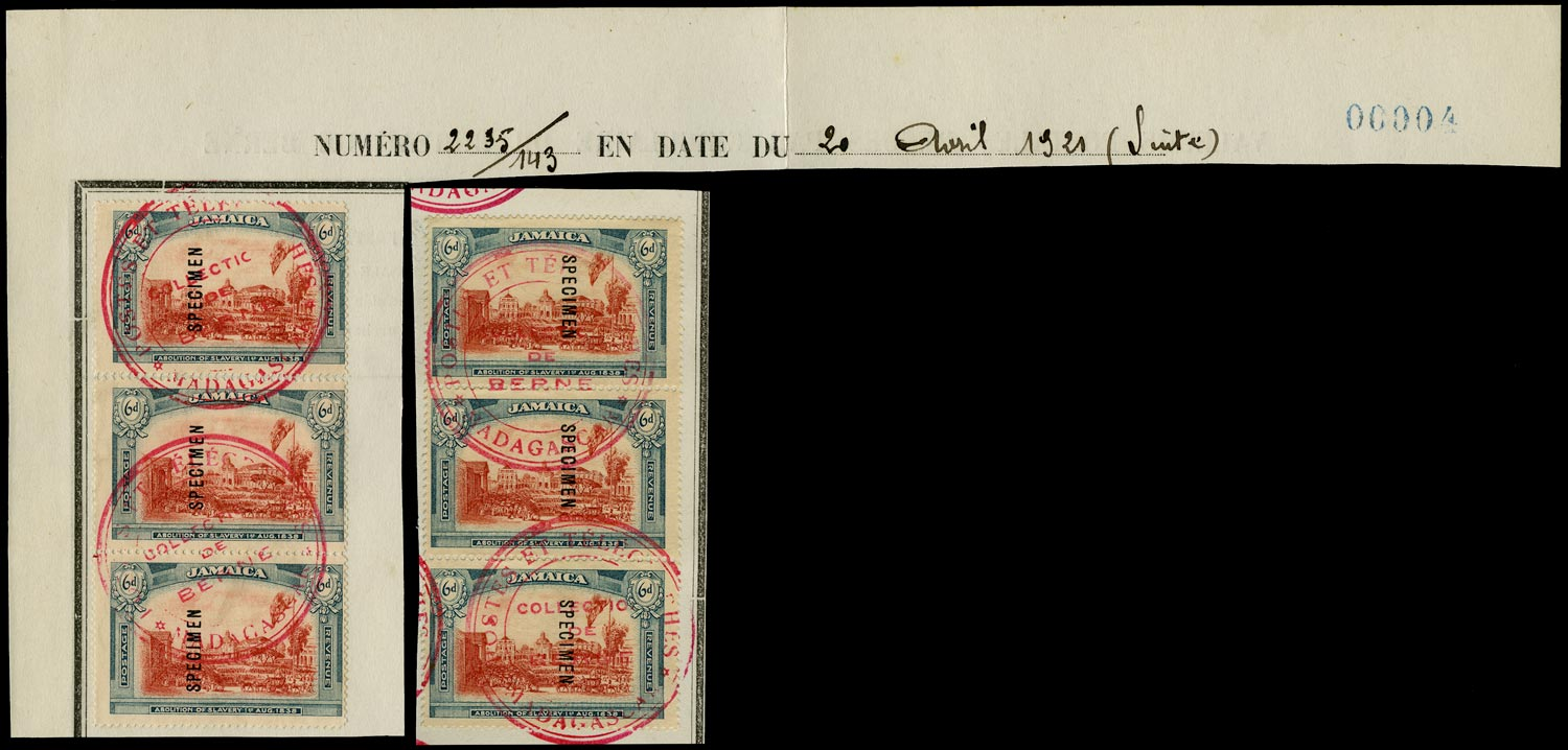 JAMAICA 1921  SG90s, 91s Specimen 6d Abolition of Slavery from the Madagascar post office archive