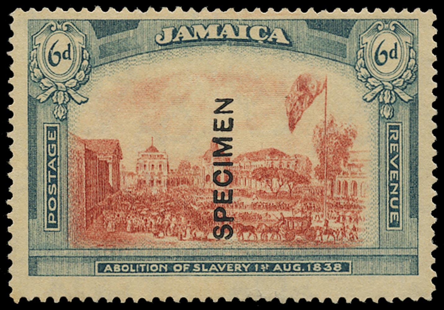 JAMAICA 1921  SG90s var Specimen Abolition of Slavery 6d watermark MCA with abnormal type D9 overprint