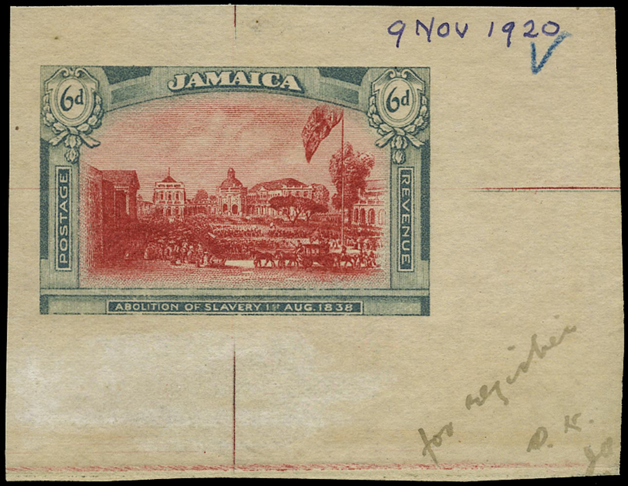 JAMAICA 1921  SG90/91 Proof of the unissued Abolition of Slavery 6d in near-issued colours