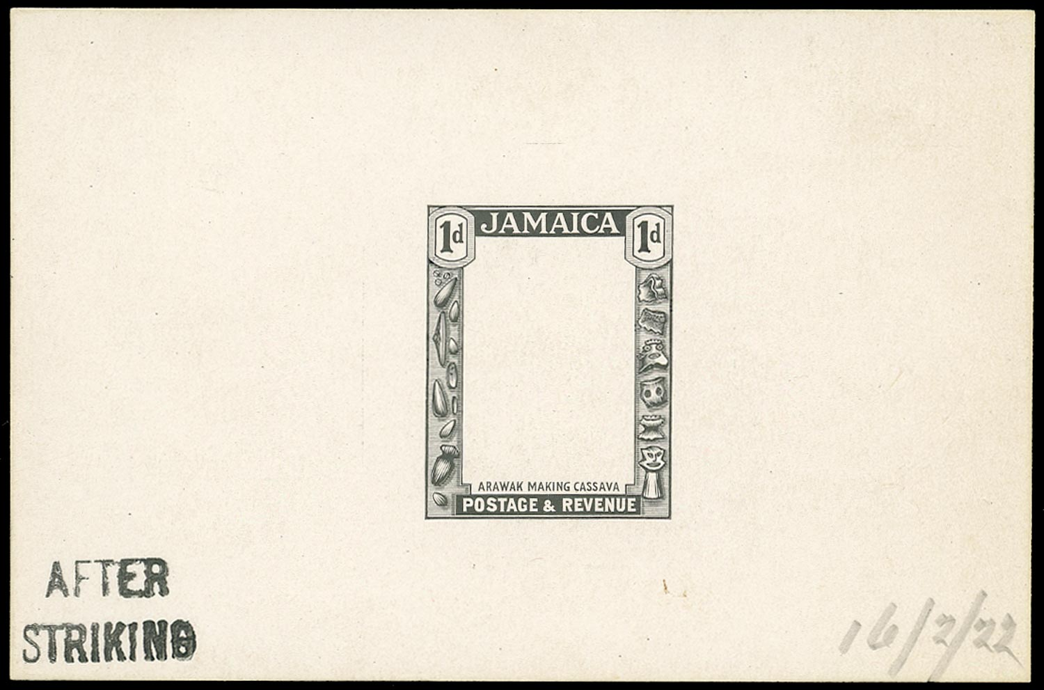 JAMAICA 1922  SG95 Proof of the frame for the 1921-29 1d stamped AFTER STRIKING
