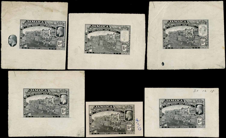 JAMAICA 1919  SG80 Proof of 1½d Contingent Embarking six different progressive in black