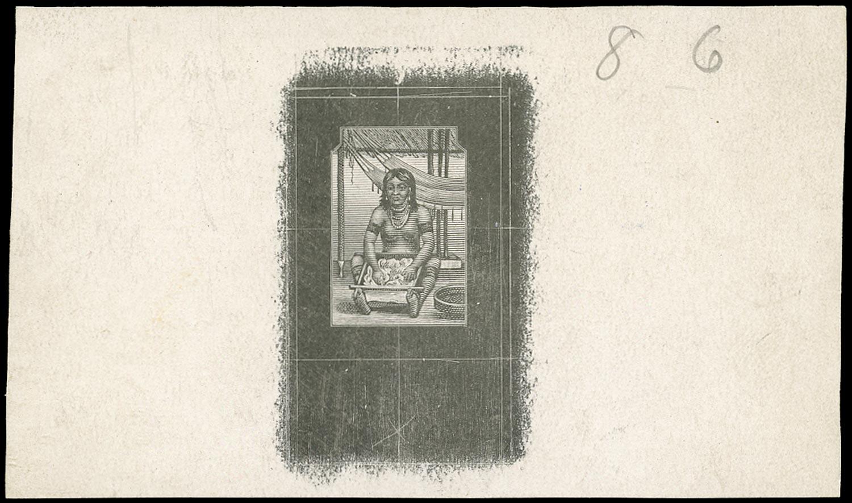JAMAICA 1919  SG79 Proof of central vignette for 1d Arawak Woman