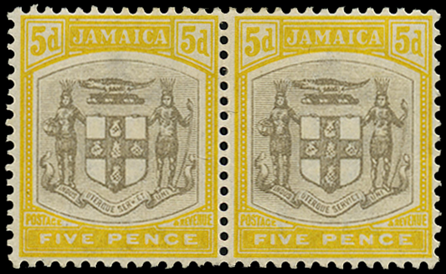 JAMAICA 1903  SG36a Mint 5d grey and yellow Arms variety 'SER.ET' for 'SERVIET'