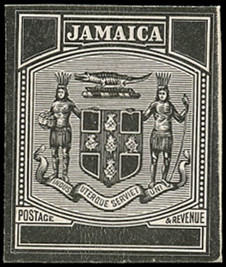 JAMAICA 1903  SG33/36 Proof of original blank duty for Arms issue with uncleared value tablets