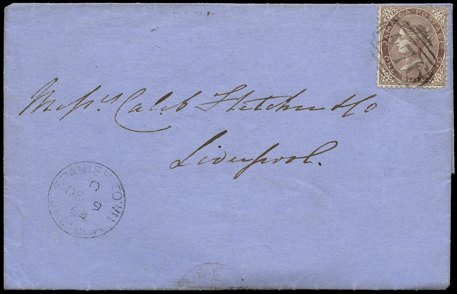 JAMAICA 1864  SG6c Cover from Spanish Town to Liverpool bearing 1s purple-brown with $ variety