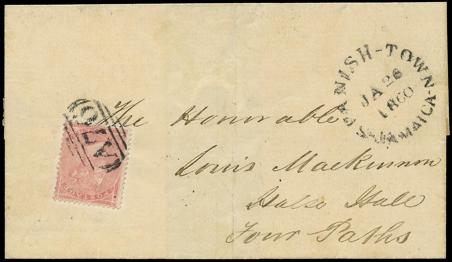 JAMAICA 1860  SGZ170 Cover from Spanish Town to Four Paths franked by GB 4d rose