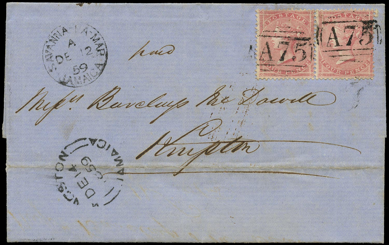 JAMAICA 1859  SGZ166 Cover from Savannah-La-Mar to Kingston franked by GB 4d rose pair
