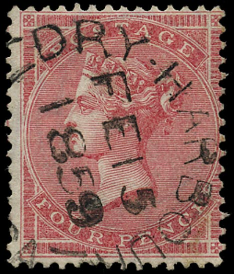 JAMAICA 1858  SGZ45 Cancel type P8 of Dry Harbour on Great Britain 4d rose