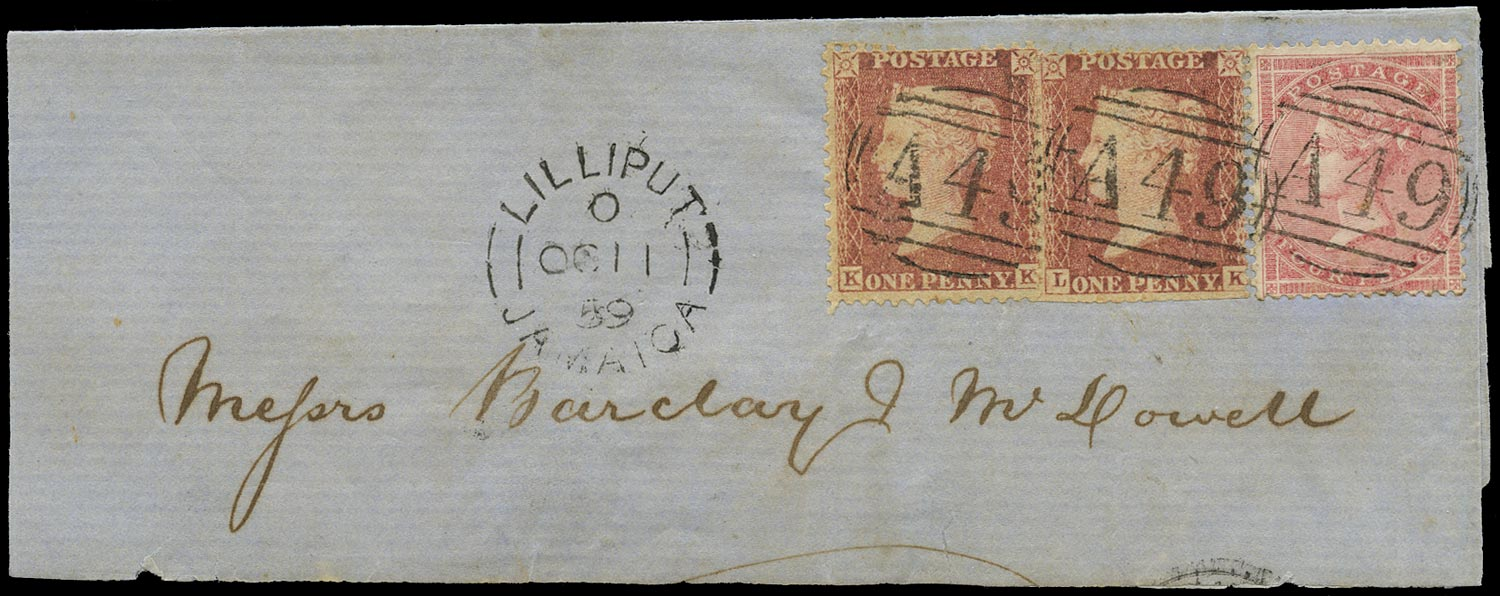 JAMAICA 1859  SGZ88, 89 Cover from Lilliput to Kingston with Great Britain 1d rose-red and 4d rose