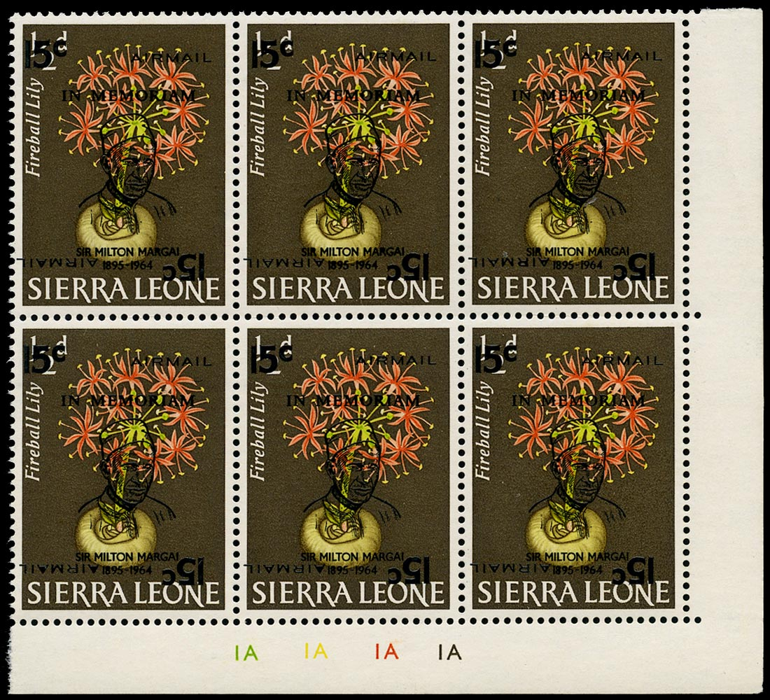 SIERRA LEONE 1965  SG373a Mint unmounted Sir Milton Margai 15c on ½d error surcharge double one inverted