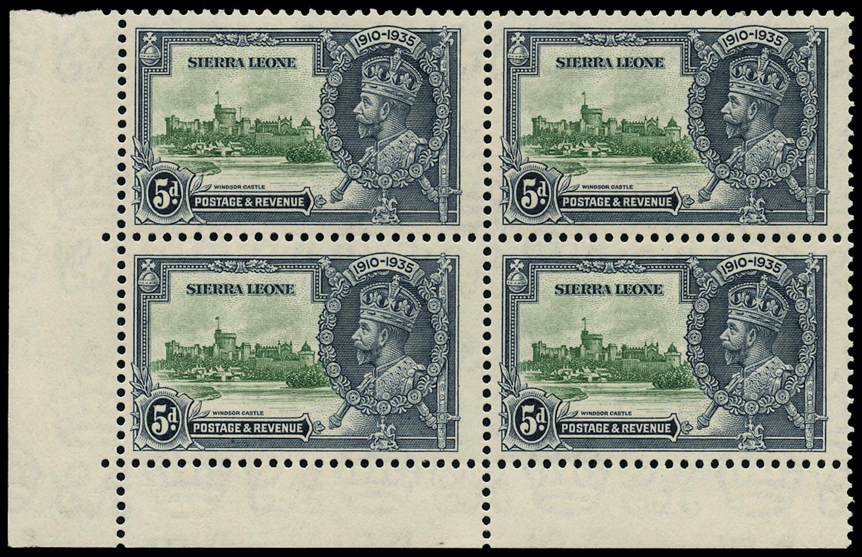 SIERRA LEONE 1935  SG183a Mint Silver Jubilee 5d green and indigo variety Extra flagstaff