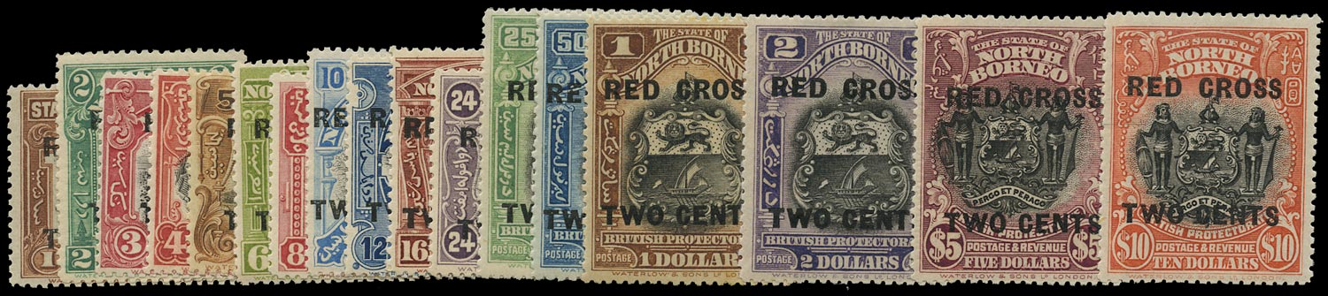 NORTH BORNEO 1918  SG214/34 Mint Red Cross set of 17 to $10+2c
