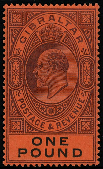 GIBRALTAR 1903  SG55 Mint KEVII £1 dull purple and black on red paper