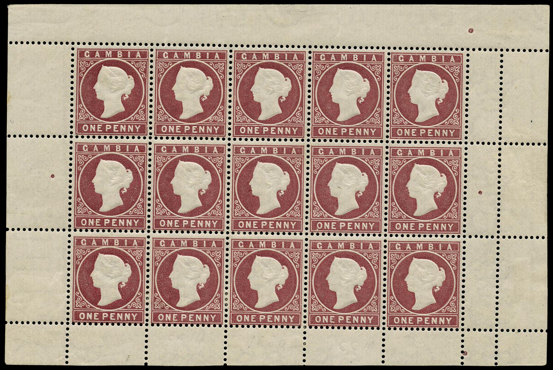 GAMBIA 1880  SG12B Mint 1d maroon watermark CC upright complete sheet