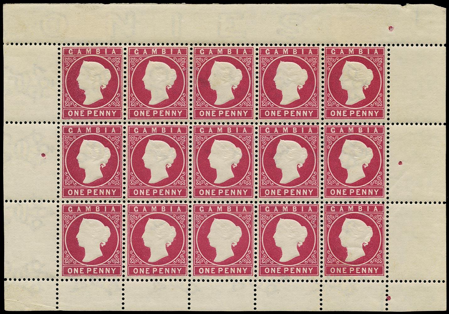 GAMBIA 1886  SG23a Mint 1d aniline crimson watermark CA sideways complete sheet