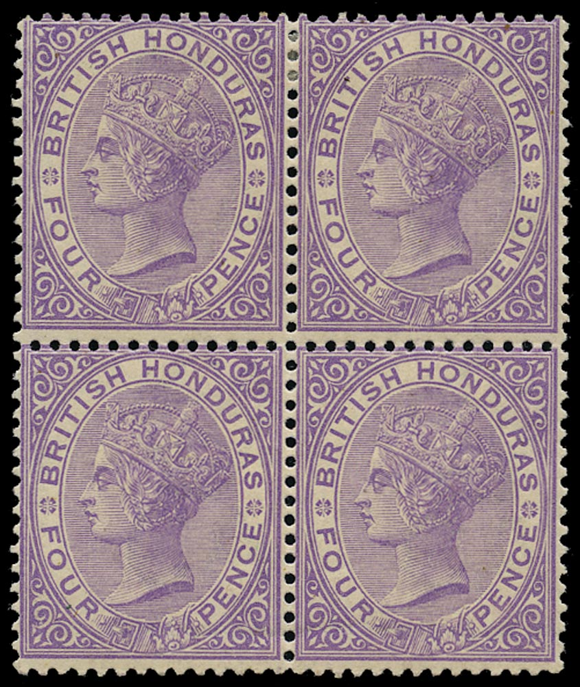 BRITISH HONDURAS 1882  SG20 Mint QV 4d mauve watermark CA block of 4