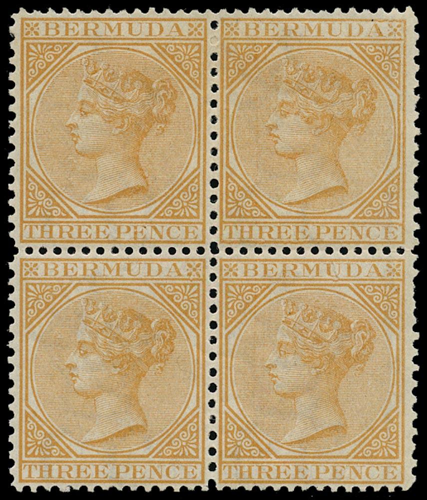 BERMUDA 1865  SG10 Mint QV 3d yellow-buff watermark CA perf 14x12½ block of 4