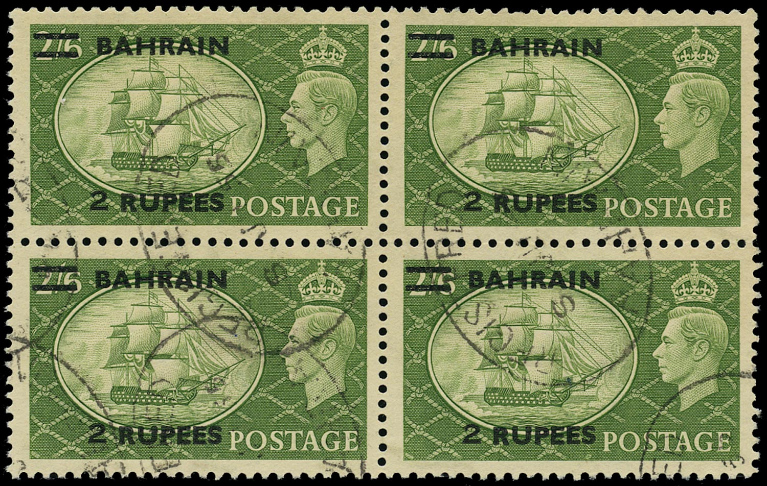 BAHRAIN 1950  SG77b Used KGVI 2r on 2s6d yellow-green type III surcharge