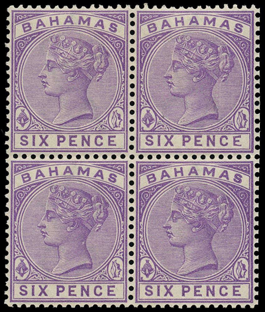 BAHAMAS 1884  SG54a Mint QV 6d mauve watermark CA variety Malformed 'E'