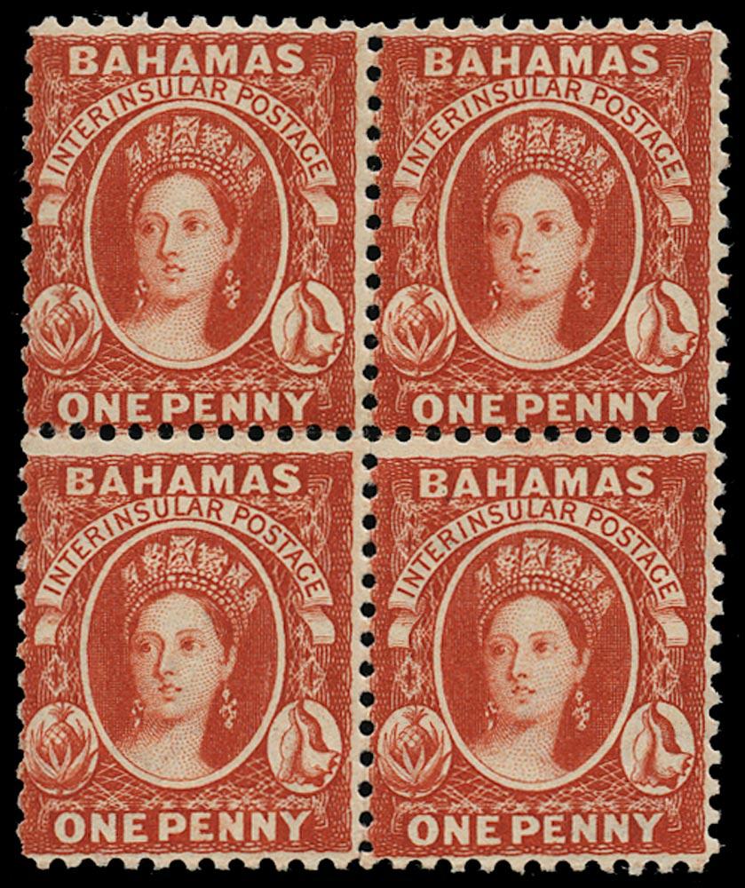 BAHAMAS 1882  SG40 Mint QV 1d scarlet-vermilion watermark CA perf 12