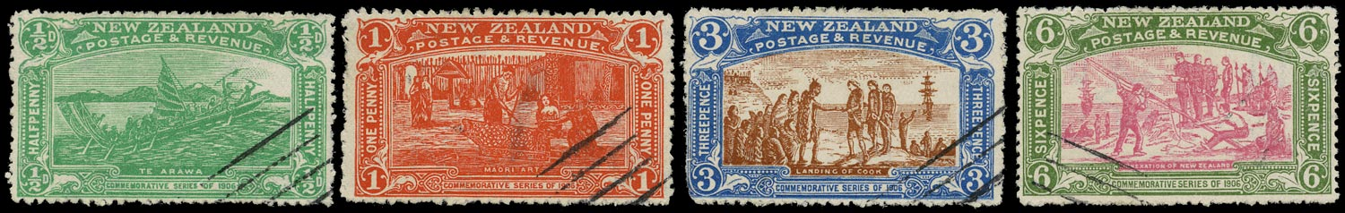 NEW ZEALAND 1906  SG370/73 Specimen Christchurch Exhibition set of 4 to 6d with presentation cancels