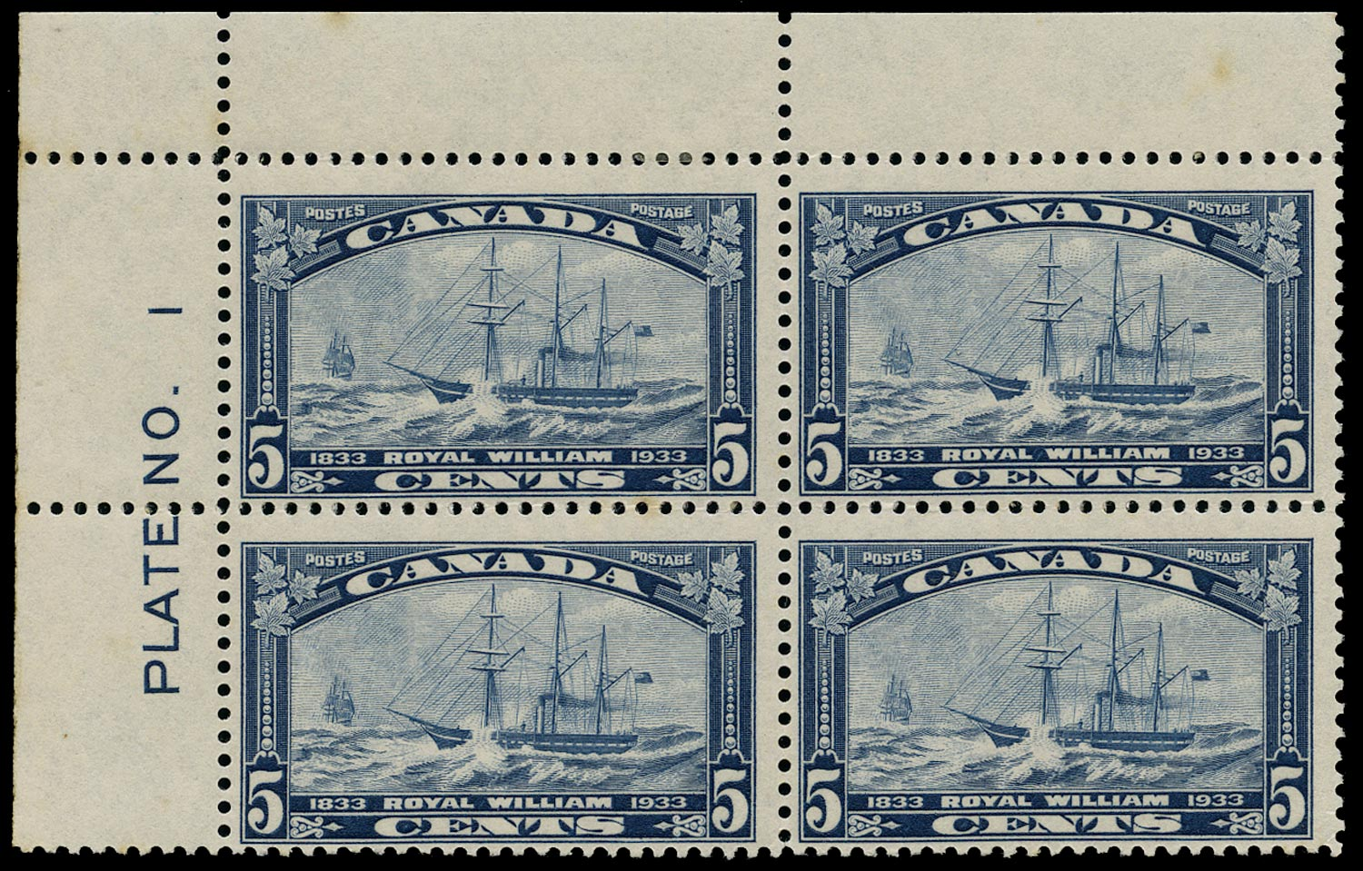CANADA 1933  SG331 Mint 5c blue Royal William plate number block