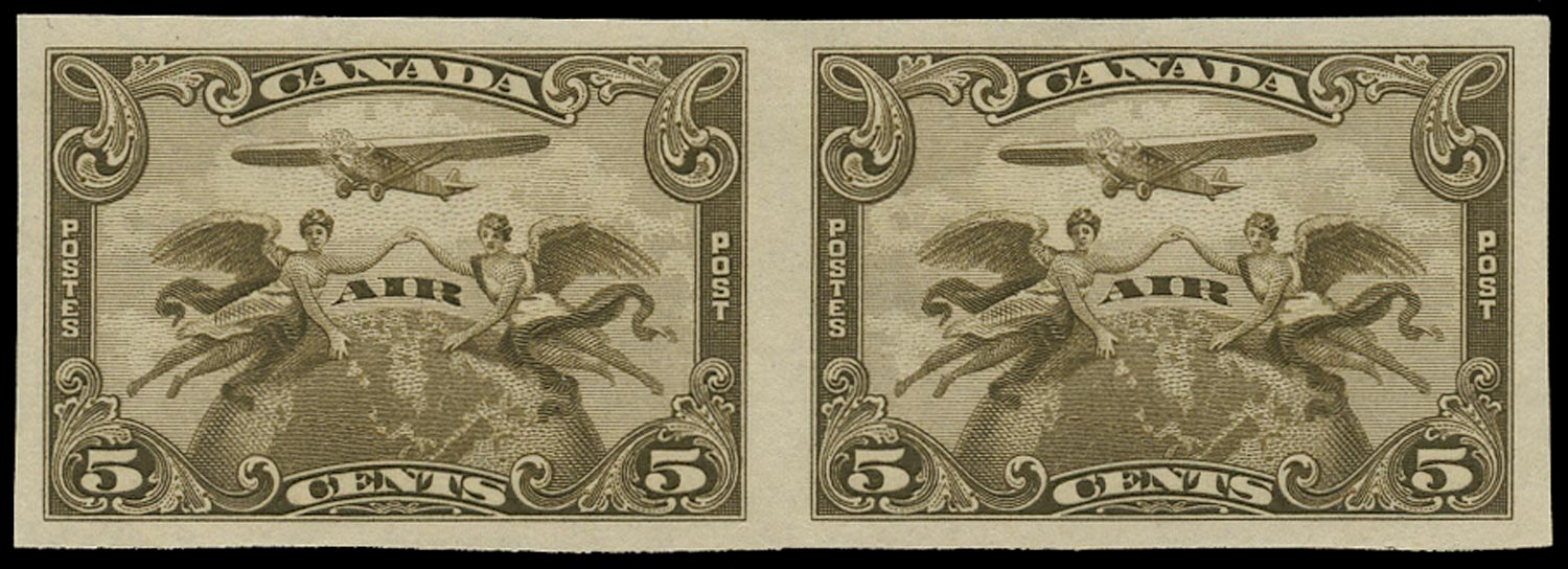 CANADA 1928  SG274 Proof of Air 5c olive-brown imperforate horizontal pair