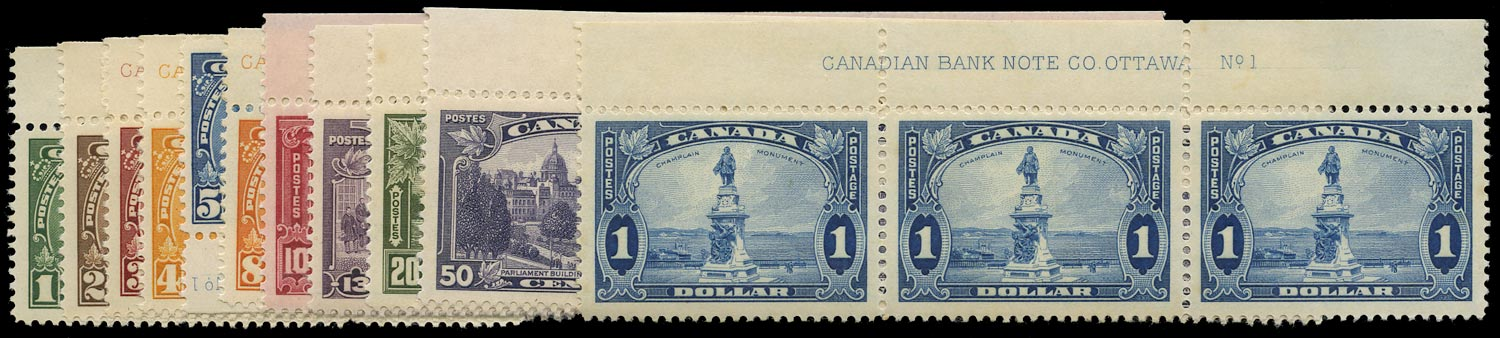CANADA 1935  SG341/51 Mint set of 11 to $1 as imprint and plate number strips of 3