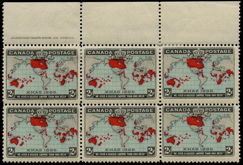 CANADA 1898  SG167 Mint XMAS 2c greenish blue imprint block of 6
