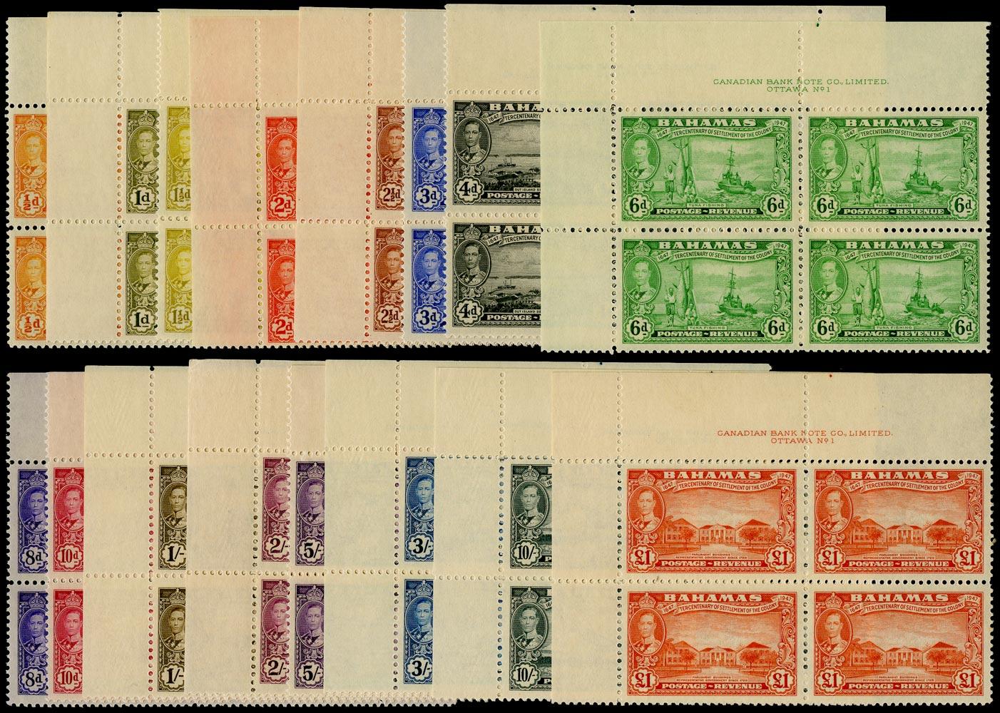 BAHAMAS 1948  SG178/93 Mint unmounted KGVI Eleuthera set of 16 to £1 imprint blocks