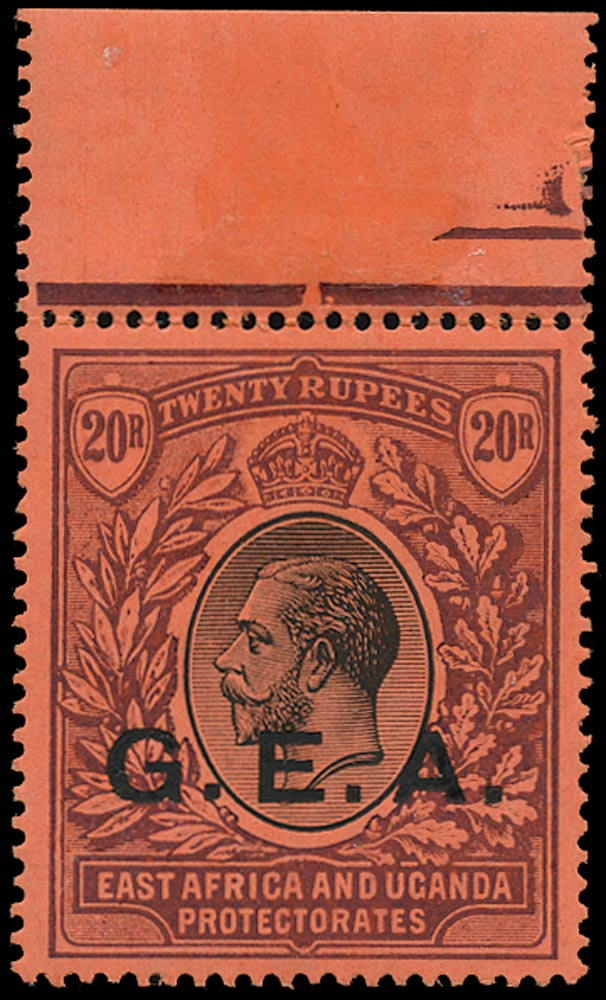TANGANYIKA 1917  SG61 Mint unmounted GEA 20r black and purple on red paper