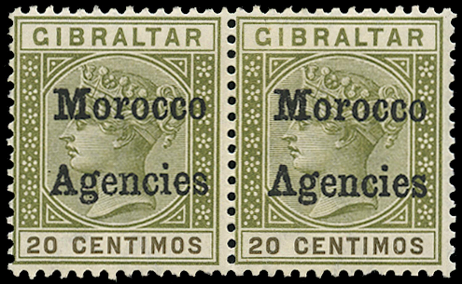 MOROCCO AGENCIES 1898  SG3a Mint QV 20c olive-green and brown variety Inverted V for A